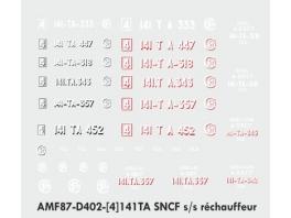 Decalcs pour 141TA Jouef/Kitway version s/s réchauffeur