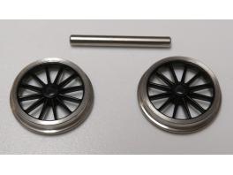 1 essieu de bissel à roues 12 rayons de 14mm