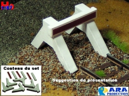 Set de 3 heurtoirs bi-bloc béton Ara