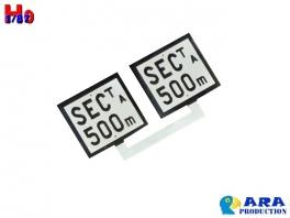2 plaques Sectionnement à 500m Ara