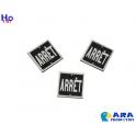 3 plaques ARRET carrées Ara