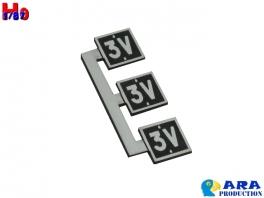 3 plaques 3V Tête de rame 3 voitures Ara