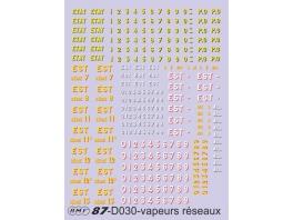 D030 Marquages vapeurs anciens réseaux Est, Etat, AL, PO