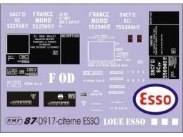 Déco citerne ESSO pour citerne 2 essieux ou à bogies Nord ou SNCF