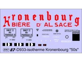 Déco isotherme Brasserie Kronenbourg SNCF ép3 (rouge fond blanc)